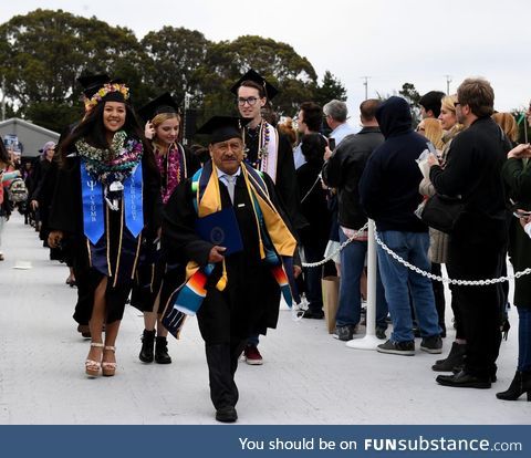 Former farmworker walks down aisle as he receives his bachelor's with honors at 58