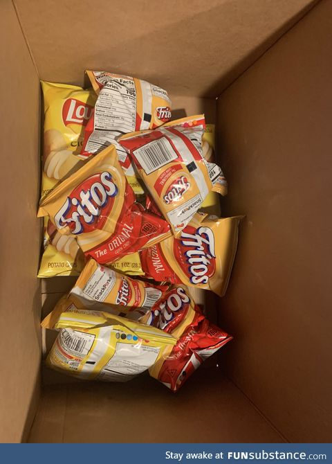 This is what the bottom of every box of assorted chips looks like