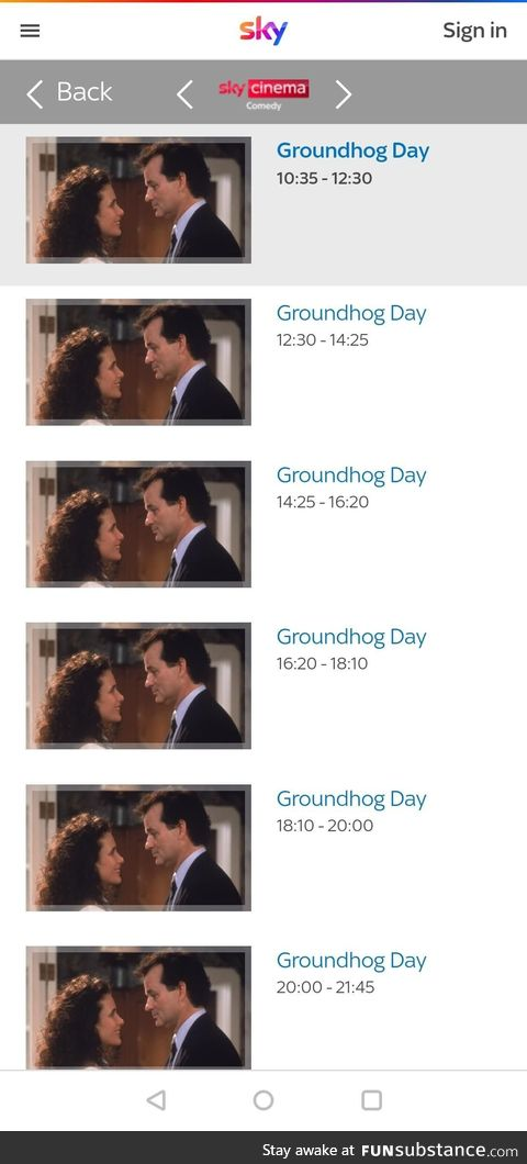 Sky Cinema's Comedy channel schedule for today