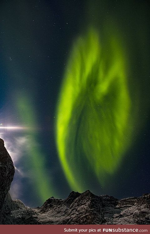 Aurora Borealis over Tromsø, Kingdom of Norway, photographed by Marianne Bergli on 31