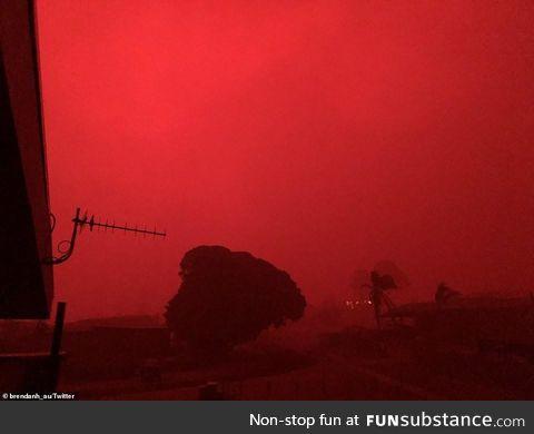The skies in this Australian neighborhood as the fires burn on New Years