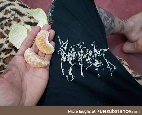 Black metal band logo created thanks to a mandarin