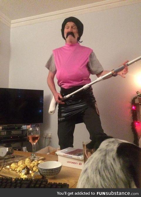 Grandad dressed up as Freddy Mercury.