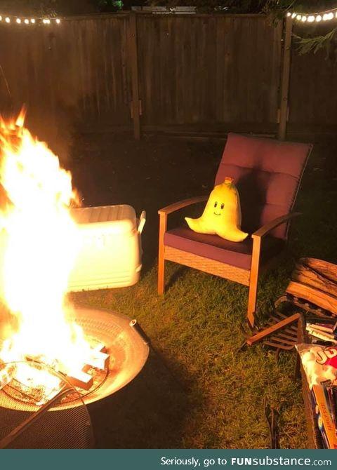 Banana enjoying the fire pit