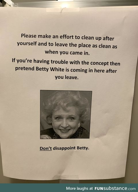 Posted in the office bathroom