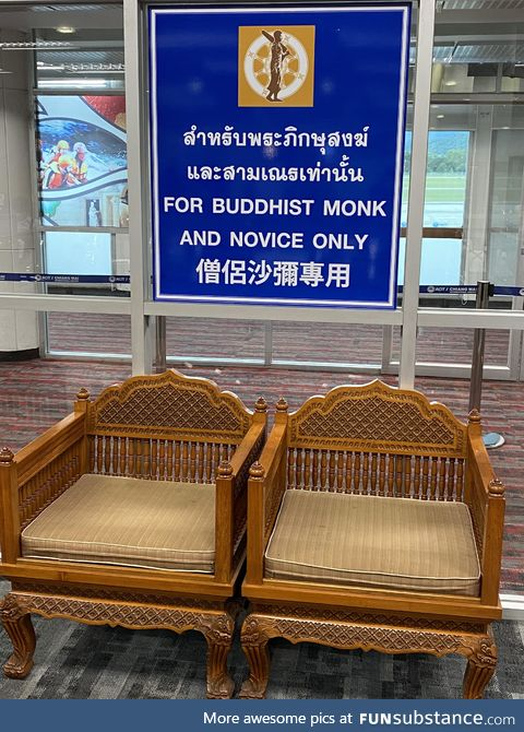 Buddhist monks get special seats at Thai airports, apparently
