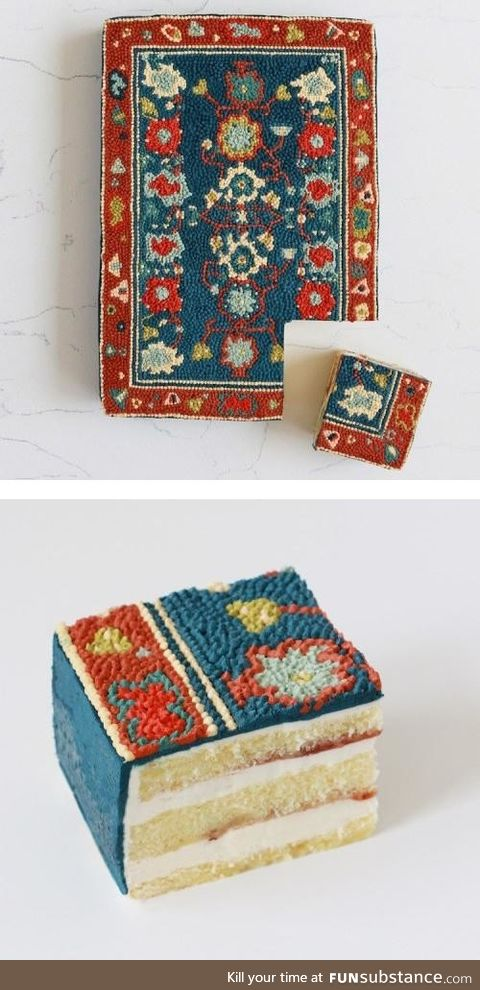Meticulously made rug cake