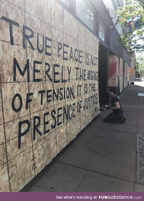 Written on the front of a family owned Minneapolis business by the current owner's