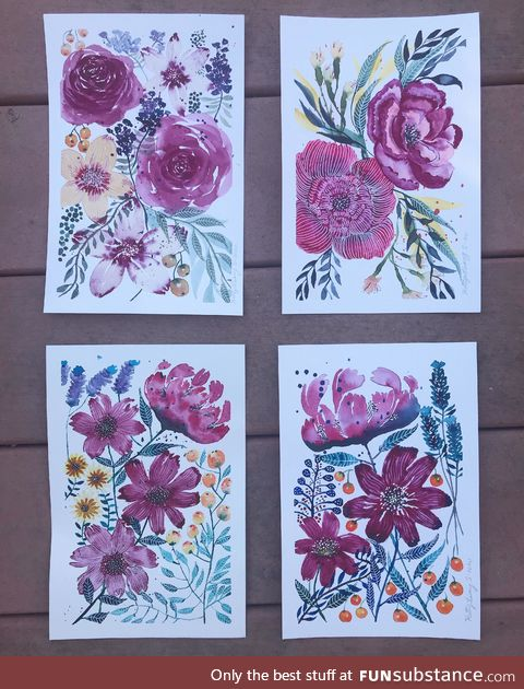 Thanks to all your encouragement, I'm finally selling paintings! Here is a set of four
