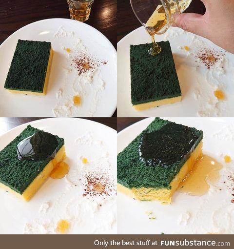 The sponge is cheesecake!