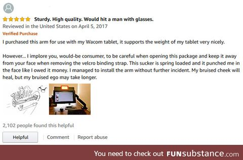 "Looking for a violent monitor stand? ""Would hit a man with glasses"""