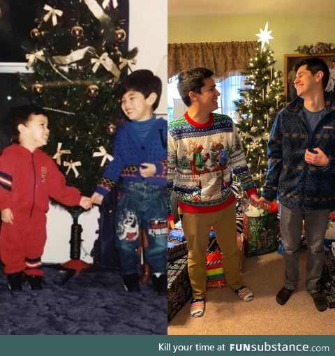Two siblings taking Xmas pics, 22 years apart
