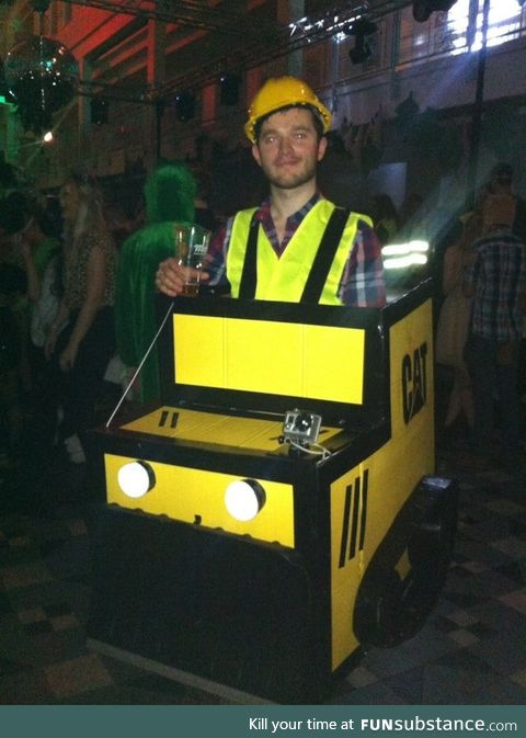 He dressed up as a bulldozer for a jungle themed party