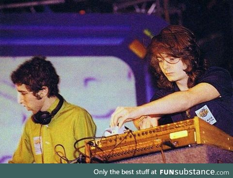 Daft Punk performing without their helmets, c. 1995