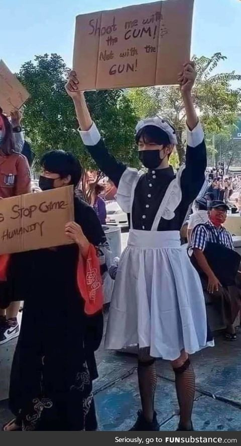 A protestor in Myanmar protesting military coup in the country
