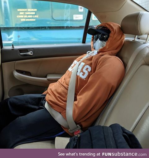 The dummy used by a NY driver who was pulled over for a HOV Lane violation