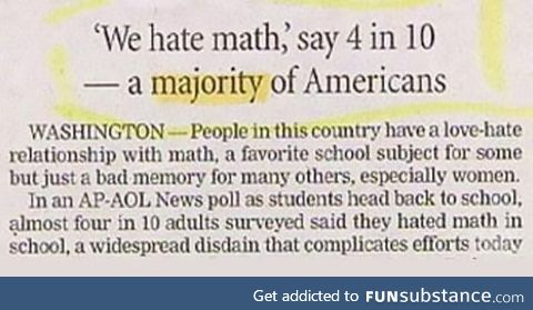 10/4ths of people dislike maths