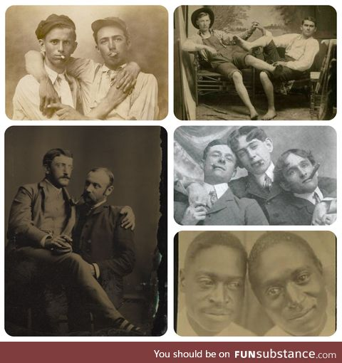 In the past, showing great affection while taking photos and portraits was very common