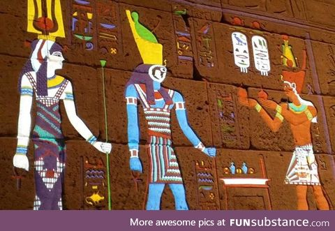 Colours in hieroglyphics before they faded, allegedly