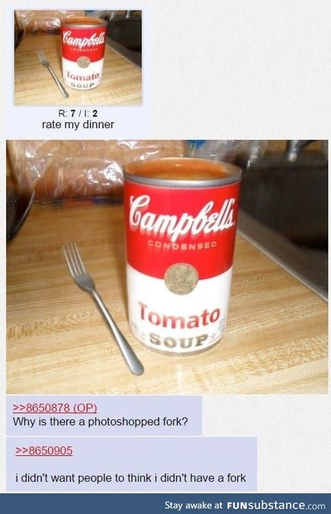 Who eats soup with a fork?