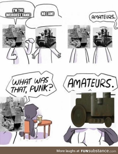 Imagine the Wagner war tank rolling towards your trench only to see it get bogged down