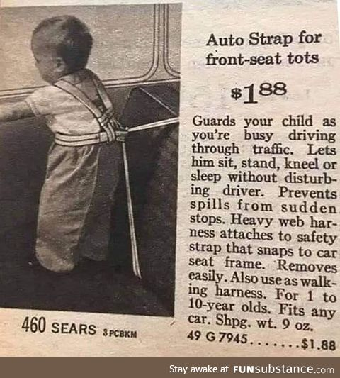 It keeps the children inside the car, circa 1962