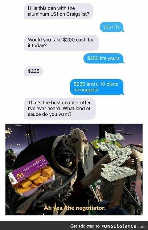 The (McNugget) negotiator