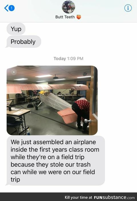 Assembled airplane inside their classroom