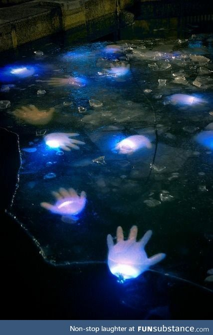 Glowsticks in Latex Gloves in your Pool for Halloween