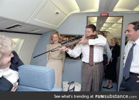 President Reagan shoots down the last living bird from an airplane, later replacing it