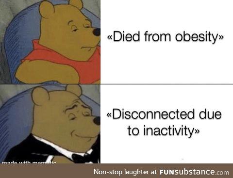 Makes being fat seem less depressing lol