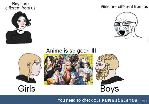 Divided by gender, United by Anime !!!