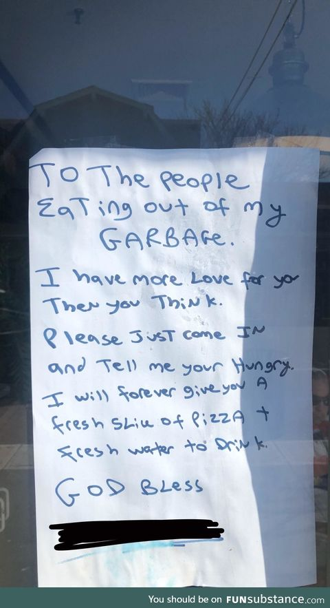 Pizza shop owner is one of the good ones