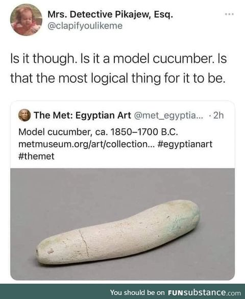 A model of a cucumber obvs