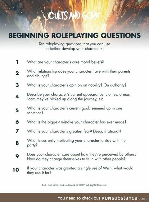 Beginner Role Play Character Questions