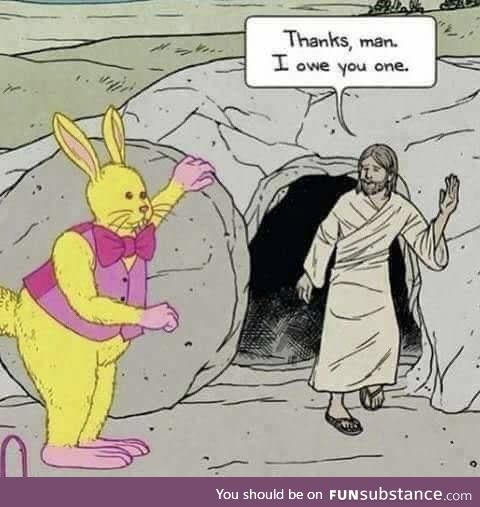 The Easter Bunny helps out Jesus, colorized, ~37 AD