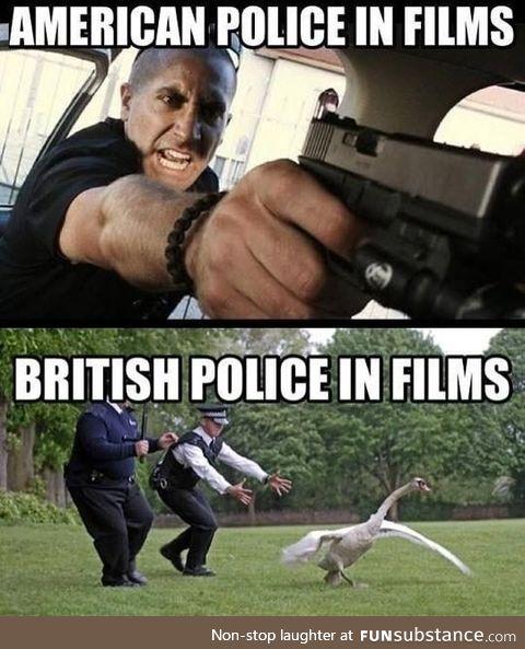 US vs British movies police