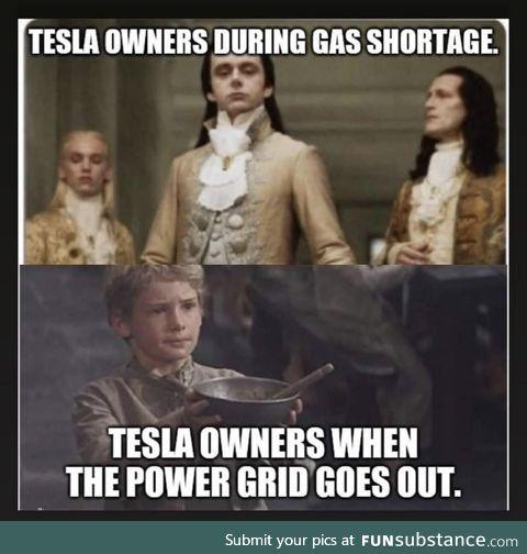 Tesla owners during gas shortage