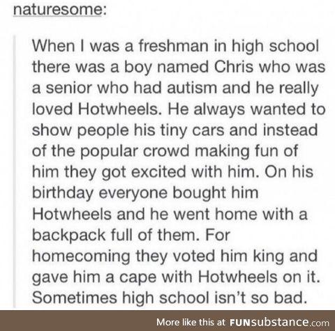 For once high schoolers weren't being d*cks