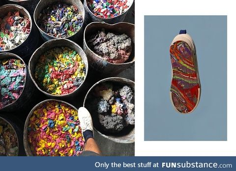Sneaker souls made out of recycled balloon bits