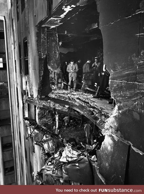 On July 28, 1945, a B-25 bomber flying a routine mission crashed into the Empire State.