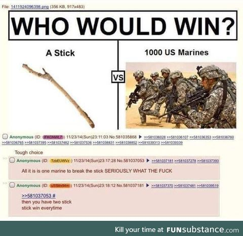 Stick wins every time