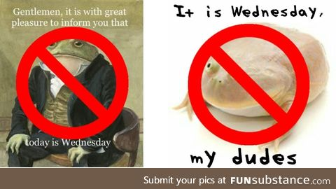 Be Original. Original Wednesday frog memes are not banned, The two exact copies of these