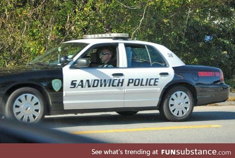 """There's a town in Massachusetts called Sandwich and their cop cars read """"Sandwich"""