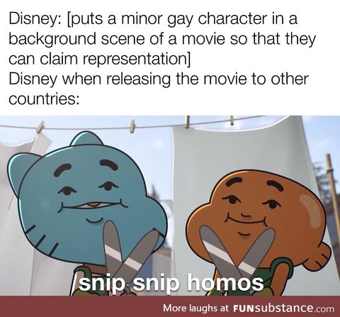"""""""A GAY character? Why, whatever do you mean? There was never a gay character in this"""