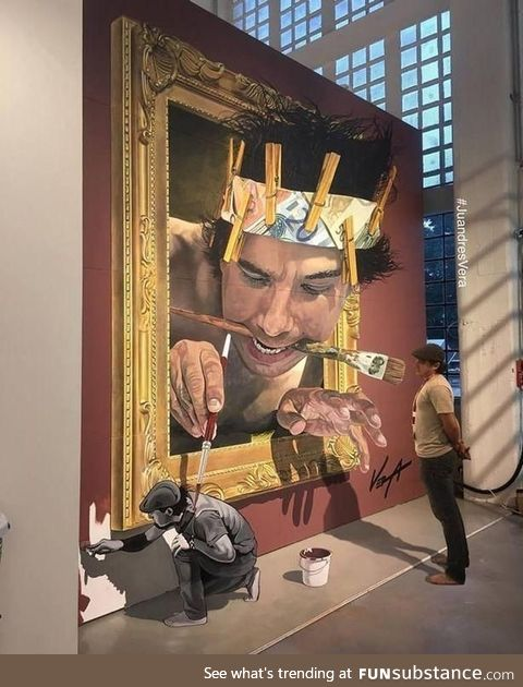 A painting of a painter watching a painting of a painter painting a painter
