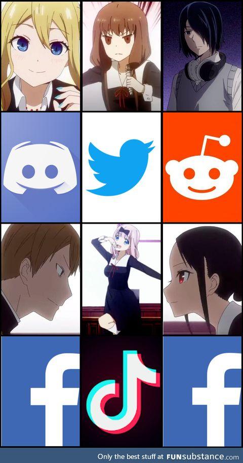 Kaguya-sama main cast if they used social media