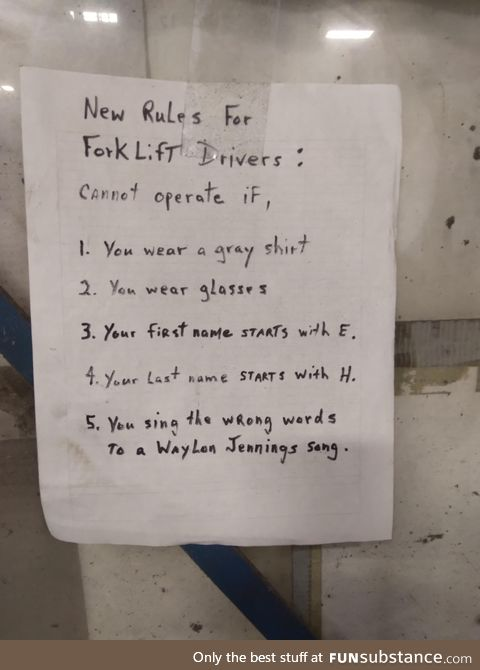 Very specific forklift rules at work