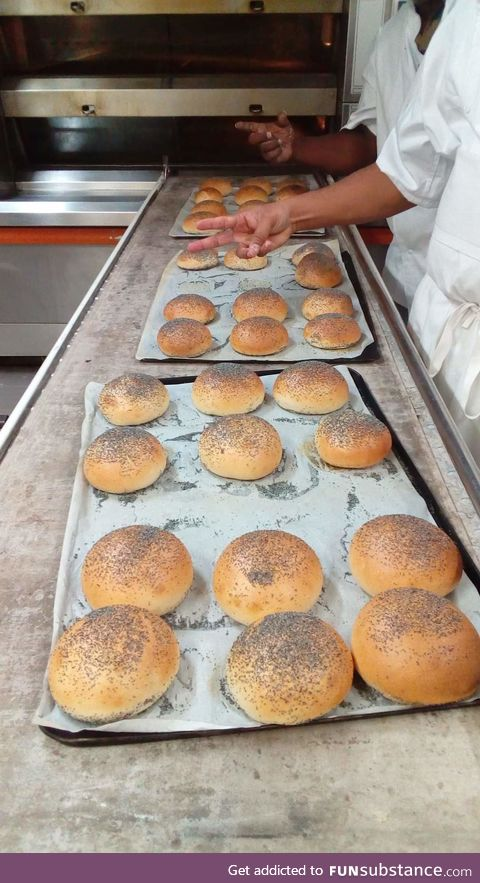 Showing restaurant staff my new recipe for buns #2