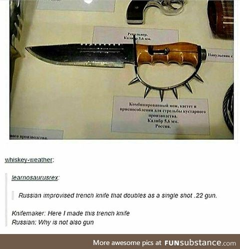Russian improvised trench knife single shot gun